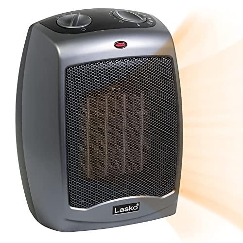 Lasko 754201 Pequeño calentador eléctrico de cerámica portátil de 1500 W con interruptor de seguridad de vuelco, protección contra sobrecalentamiento, termostato y cable extra largo de 2,4 m para interior Ho, 23,4 x 17,7 x 15,2 cm, gris oscuro