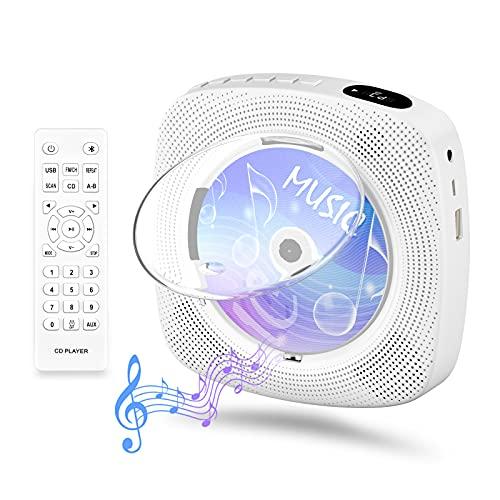 Gueray CDプレーヤー 卓上&壁掛け式 ディスクプレーヤー 1台多役 CD/FM/USB/AUX/Blue対応 LEDディスプレイ 防塵透明カバー付き 音楽再生/語学学習/胎児教育 日本語説明書付き