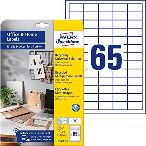 AVERY Zweckform LR3666-10 Recycling Etiketten (650 Adressaufkleber, 38x21,2mm auf A4, 100% recyceltes Altpapier, bedruckbare Universaletiketten, selbstklebende Klebeetiketten) 10 Blatt, naturweiß