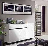 Angulo Interiores Mueble aparador con 3 Puertas y 1 cajón, en Color Blanco y Negro Antracita. Fabricado a Mano en España con Madera de Fresno. (160 x 40 x 91 cm)