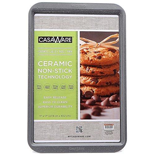 CasaWare Ceramic Coated NonStick Cookie/Jelly Roll Pan 11'x17' (Silver Granite)