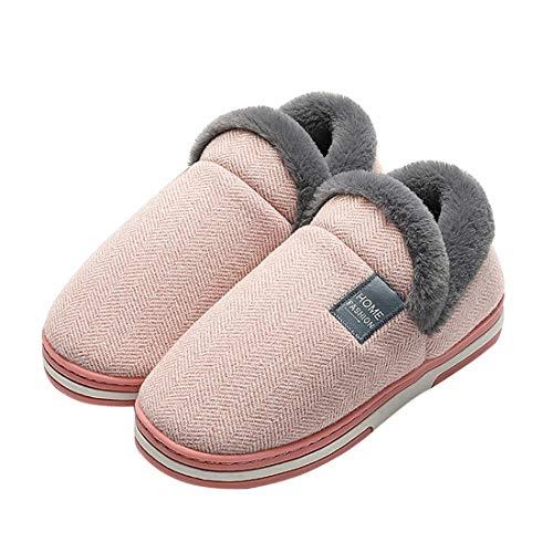 MoneRffi Damen Herren Hausschuhe Winter Memory Foam Pantoffeln Slip-on Weiche rutschfeste Indoor Warme Bequeme Slippers(Rosa,38-39 EU)