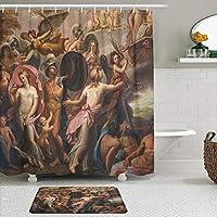 MIMUTI シャワーカーテン バスマット 2点セット ローマイタリア8月異教の神話のシーンと素晴らしいフレスコ画 自家 寮用 ホテル 間仕切り 浴室 バスルーム 風呂カーテン 足ふきマット 遮光 防水 おしゃれ 12個リング付き