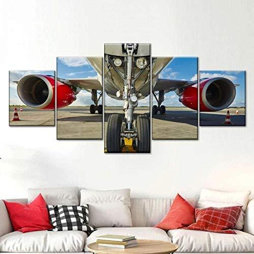 QWASD Tren De Aterrizaje De Avión Cuadro sobre Lienzo 5 Piezas Cuadro Lienzo Modernos Impresión De Imagen Pared 5 Piezas De Lienzo De Arte De Pared Sala Estar Dormitorio Moderno Decoración 150X80 Cm