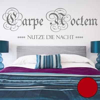A278 Adhesivo de pared 'Carpe Noctem 120 cm x 39 cm rojo (disponible en 40 colores y 4 tamaños)