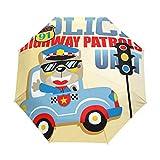 SUHETI Ombrello Portatile,Pattuglia Di Polizia Animale Con Semaforo E Logo,Ombrello Pieghevole Automatico Antivento