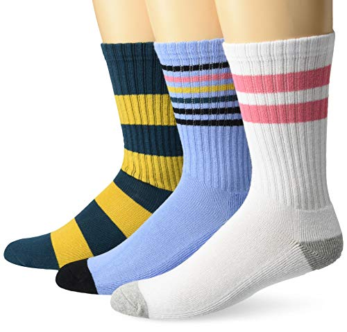 Amazon Brand - Goodthreads Men's 3-Pack Striped Ribbed Crew Sock, Gold Blue White Stripes, One Size