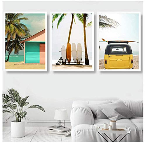 VFEB Wall Art Beach Seascape Canvas Print Figure Poster Surf Board Painting Style Picture Bedroom Home Decoration 50x70cmx3 Frameless,...