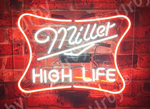 Urby Brand New 19' Miller High Life Neon Sign Acrylic Panel Beer Bar Pub Man Cave Business Glass Neon Lamp Light FE03
