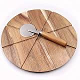 Acacia Pizza Cutting Board and Pizza Cutter Set Round Wooden Chopping Board Pizza Peel With 8 Grooves To Slice and Portion Your Pizza Great for Serving Tray and Cheese Board Great for Gift (12inch)