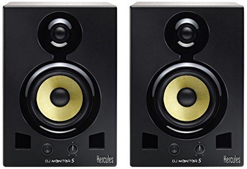 Hercules Monitor 5: aktives Monitor-Lautsprecherpaar mit Bi-Amping (2 x 80 Watt), jeweils mit 5-Zoll/ 12,7-cm Tieftonlautsprecher