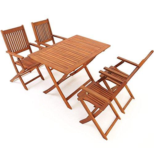 Deuba Sitzgruppe Sydney 4+1 FSC®-zertifiziertes Akazienholz 5-TLG Tisch klappbar Sitzgarnitur Holz Garten Möbel Set - 5