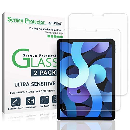 amFilm (2 Stück) Panzerglas Schutzfolie für iPad Air 4 (2020) & iPad Pro 11 (2021/2020 / 2018 Modelle), Gehärtetem Glas Bildschirmschutzfolie (Einfache Install) Kompatibel mit Apple Pencil (10,9 Zoll)
