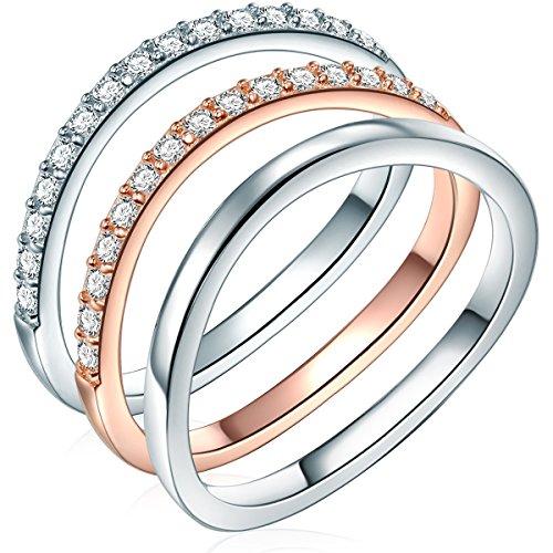 Rafaela Donata Damen 3er Set Ringe Sterling Silber Zirkonia weiß