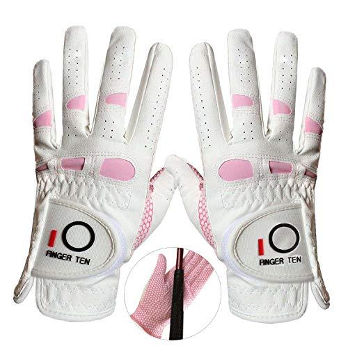 Amy Sport - Guantes de golf para mujer (mano izquierda, derecha, agarre a la lluvia, 2 unidades), color rosa, Medium