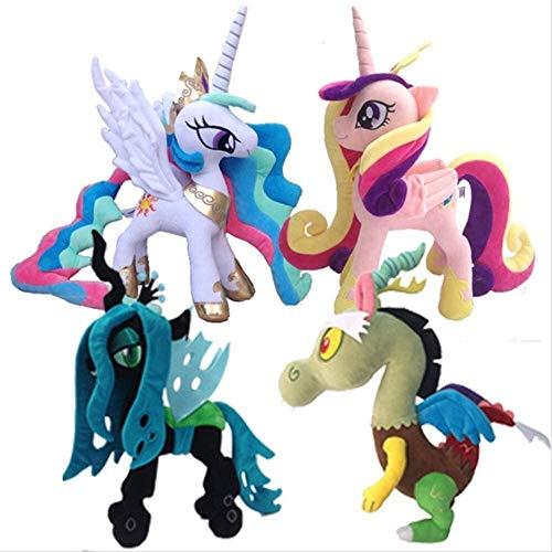 Detazhi 4pcs/Set 38cm/33cm My Little Pony - Plush Stuffed Toys Gift - Princess Celestia,Cadence,Queen Chrysalis,Discord 33cm
