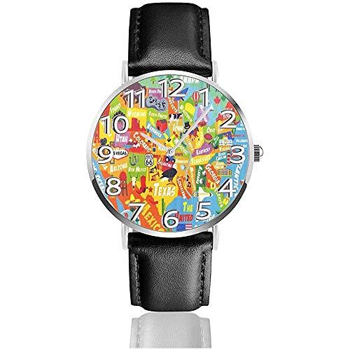 Playtime Collection Estados Unidos Mapa Estados Unidos Relojes Reloj de Pulsera de Cuero de la PU Reloj de Cuarzo Life Silence con Acero Inoxidable Plateado