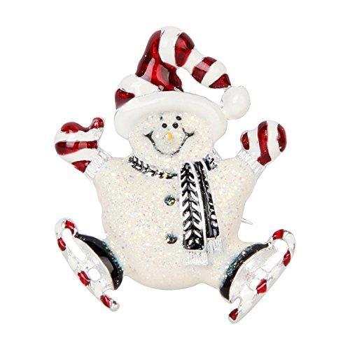 Forever Viktorovitch Ioung Bonhomme de neige Broche Broche Cadeau de Noël Fournitures 5*4.5 cm Blanc et Rouge