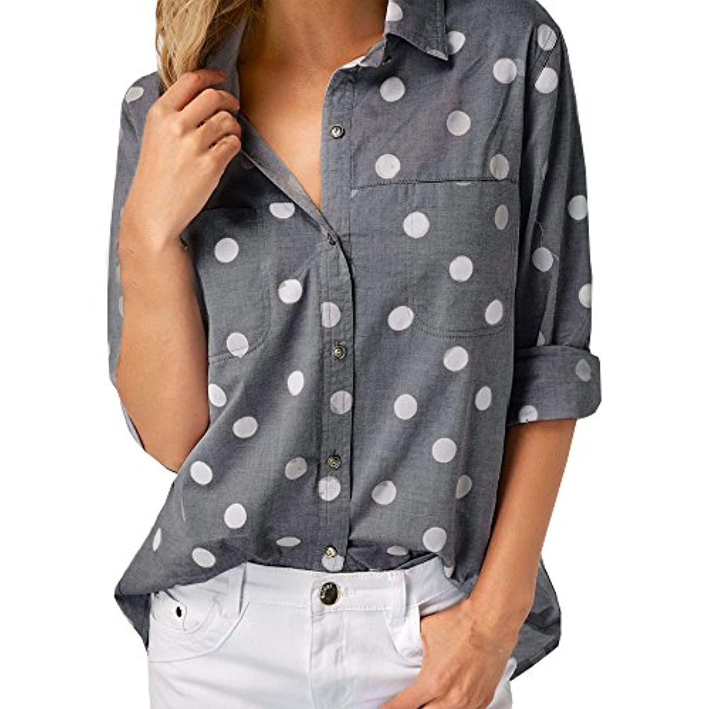 台無しに申し立てられたワークショップSakuraBest Women Work Office Dot Print Spring Autumn Long Sleeve Button Down Shirt Blouse Top