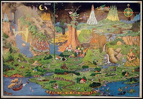 Mapa Del Vivero Land Of Make Believe Cuadro En Lienzo Imprimir Vintage...