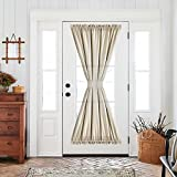 Greyish Beige French Door Panel Curtain Room Darkening Linen Textured Curtain Thermal Insulated 1 Tie Back Included 1 Piece 72 Inch