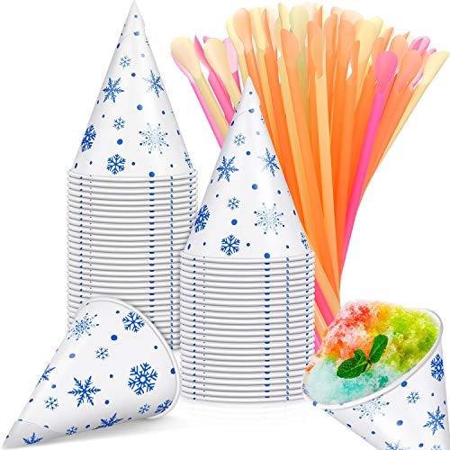 Excelentes suministros para fiestas: vienen con 100 piezas de copas de cono de nieve con patrón de copos de nieve y 100 pajitas de cucharas de colores mezclados para chupar y recoger la comida fácilmente, lo suficiente para completar la preparación d...