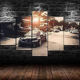 AWER Lona Murales Cuadro Moderno en Lienzo 5 Piezas Cartel de coche deportivo de la puesta del sol cívica HD Arte De Pared Imágenes Modulares Sala De Estar Decoración para El Hogar 150X80Cm