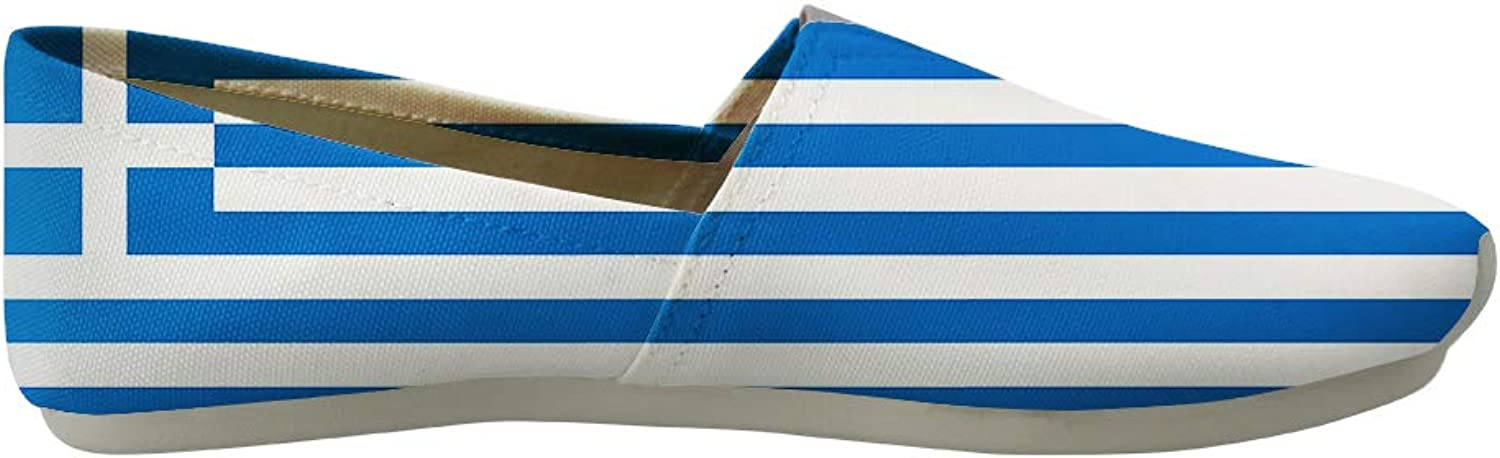 Owaheson Classic Canvas Slip-On Lightweight Driving shoes Soft Penny Loafers Men Women Greek Flag
