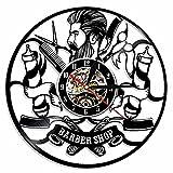 Barber Shop Hairdresser Salon Logo Sign Disco de vinilo Lp Reloj de pared Regalo Sorpresa Ideas para mejores amigos Cumpleaños Decoración del hogar Arte para hombres o mujeres Reloj hecho a mano