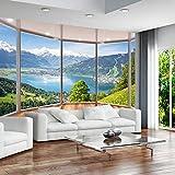 Papel tapiz mural 3D, balcón creativo moderno, ventana francesa, paisaje natural, fondos de...