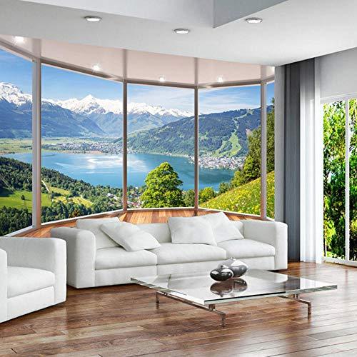 Papel tapiz mural 3D, balcón creativo moderno, ventana francesa, paisaje natural, fondos de pantalla de fotos, sala de estar, decoración del hogar, 350 cm (ancho) x 260 cm
