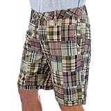 Margaritaville Men's Madras Patchwork Mallory 9' Flat Front Short 100% Cotton