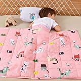 Wemore Kids Weighted Blanket 3 lbs 36 x 48 inches,100% Natural Cotton and Premium Glass Beads Heavy Weight to Relax and Stimulate Quality Sleep, Pink Cat