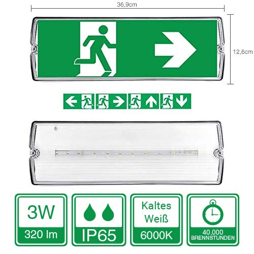 Specilights 8719699293564 Notbeleuchtung LED, Fluchtwegleuchte, Notlicht, Rettungszeichenleuchte, IP65, Notleuchte, Notausgang Leuchte 3W, 3 W, Weiss und Grün