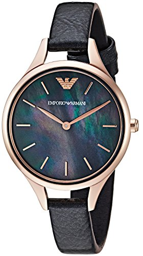 Emporio Armani Women's 'Dress' Quartz Stainless Steel and Leather Casual Watch, Color:Black (Model: AR11056)