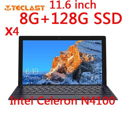 Teclast X4 2 in 1 Tablet Laptop 1920 x 1080 11,6 pollici Windows 10 Quad Core 8 GB RAM 128 GB SSD Doppia fotocamera HDMI con tastiera