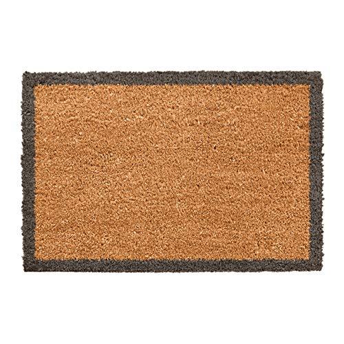 CKB LTD® Felpudo con borde de carbón único para puerta delantera o trasera, hecho con un respaldo de PVC antideslizante, fibra de coco natural, para interiores y exteriores