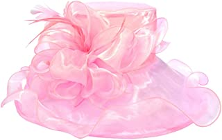 Organza Fascinator Wedding Hat for Women's Ladies, Wide Brim Tea Party Church Bridal Cap with Bowknot,Pink