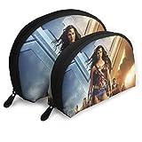 JUKIL Wonder Woman Forma di conchiglia Borse portatili Pochette da viaggio Borsa da toilette impermeabile Cerniera con cerniera per borse da donna Organizer 2pcs