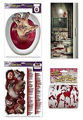 Creepy Halloween Bathroom Set Bundle (4 Pieces): One Creepy Crapper Bathroom Door Cover, One Bloody Rats Toilet Tank Peel, One Zombie Hand Toilet Topper, One Bloody Toilet Paper Roll