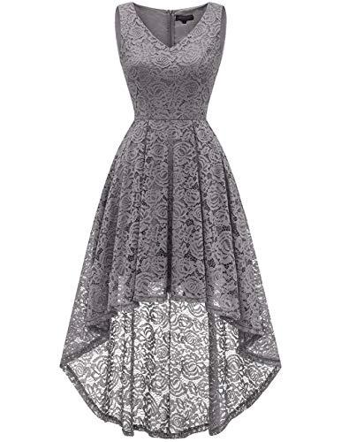 bridesmay Damen Hi-Lo Spitzenkleid Ärmellos Vokuhila Kleid Cocktailkleid BrautjungfernkleiderGrey L