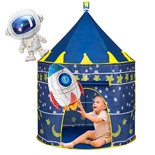 Joyjoz Kids Play Tent with 2 Balloons, Spaceship Tent for for Boys Girls, Children Play House Pop Up Tents Castle Toys for Indoor Outdoor Games