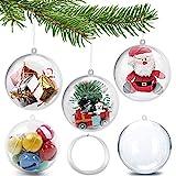 GOLRISEN Bolas Navidad Transparentes 8 cm, 20pcs Bolas Navidad Personalizadas con Cuerda, Adornos de Árbol de Navidad, Bolas Navideñas para Rellenar, Decoraciones de Navidad para Colgar en el Árbol