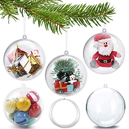 GOLRISEN 20 Stück Acrylkugeln 8cm Weihnachtskugeln Deko Christbaumkugeln Kunststoff Kugeln Aufhängen Plastikkugeln Transparent Kunststoffkugeln zum Befüllen mit Öse für Dessert Party Hochzeit Hausdeko