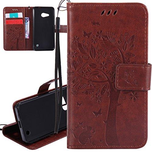 ISAKEN Compatibile con Microsoft Nokia Lumia 550 Custodia, Libro Flip Cover Portafoglio Wallet Case Albero Design in Pelle PU Protezione Caso con Supporto di Stand/Carte Slot/Chiusura - Coffee