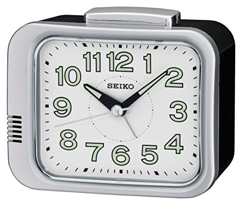 Seiko Unisex Alarm Clock Dial Analogue Display and White Plastic QHK028S