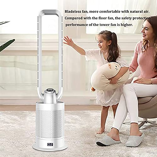 Bladeless Pedestal Fan, Negative Ion Security Quiet Remote Control Tower Fan with HEPA Filter, 9 Speed/9H Timer Air Circulator Cooling Fan for Office, Bedroom, Baby-Room,C