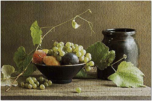 Stillleben mit Obstschale & Weinrebe auf einem Holztisch 1000 Stück Puzzle für Erwachsene