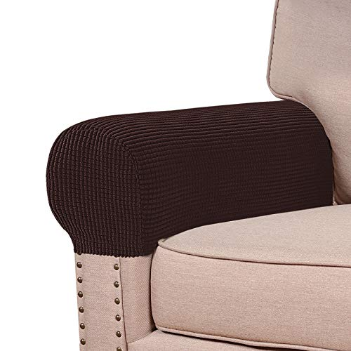 Stretch Armrest Covers for Chairs and Sofas Couch Arm Covers for Sofa Spandex Jacquard Armrest Covers Anti-Slip Furniture Protector Washable Armchair Slipcovers for Recliner Set of 2, Brown