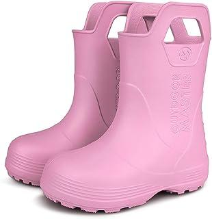 أحذية المطر للأطفال الصغار من أوتدور ماستر، خفيفة الوزن، سهلة التنظيف للأولاد والبنات